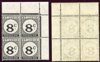 St Lucia 1949 Kgvi Postage Due 8c Black Block Of Four.  Sg D9. photo