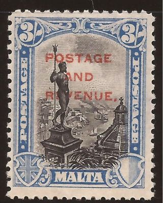1928 Malta Kgv Ovpt Postage & Revenue Inscr.  Postage 3s 3/ - Sg190 + Margin Mh photo