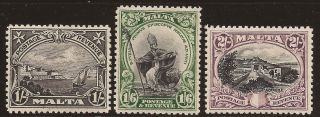 1930 Malta 3v Kgv Inscr.  Postage & Revenue 1s,  1s6d & 2s Mh Sg203/5 photo