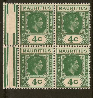 Mauritius: 1943 4c Deep Dull Green Sg 254b Unmounted Block Of Four photo