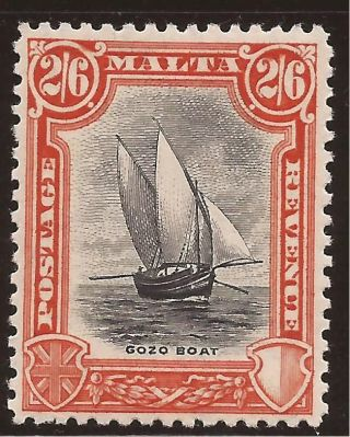 1930 Malta 2s6d Kgv Inscr.  Postage & Revenue - Gozo Boat Mh Sg206 Commonwealth photo