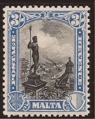 1930 Malta 3s Kgv Inscr.  Postage & Revenue - Neptune - Mh Sg207 Commonwealth photo