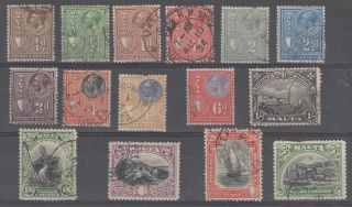 Malta Between Sg193 - 208 Gv 1930 Postage & Revenue To 5/ - Cat £220 photo