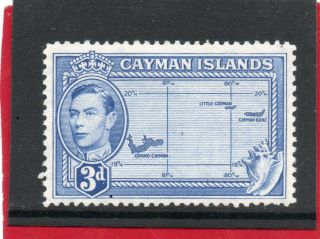 Cayman Isles G V1 1947 3d Bright Blue Sg 121a H. photo