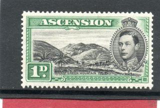 Ascension Gv1 1938 1d Black&green P13.  5 Sg 39 H. photo