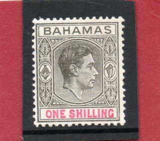 Bahamas 1944 G V1 1sh Grey - Black&bright - Crimson Sg 155c H. photo