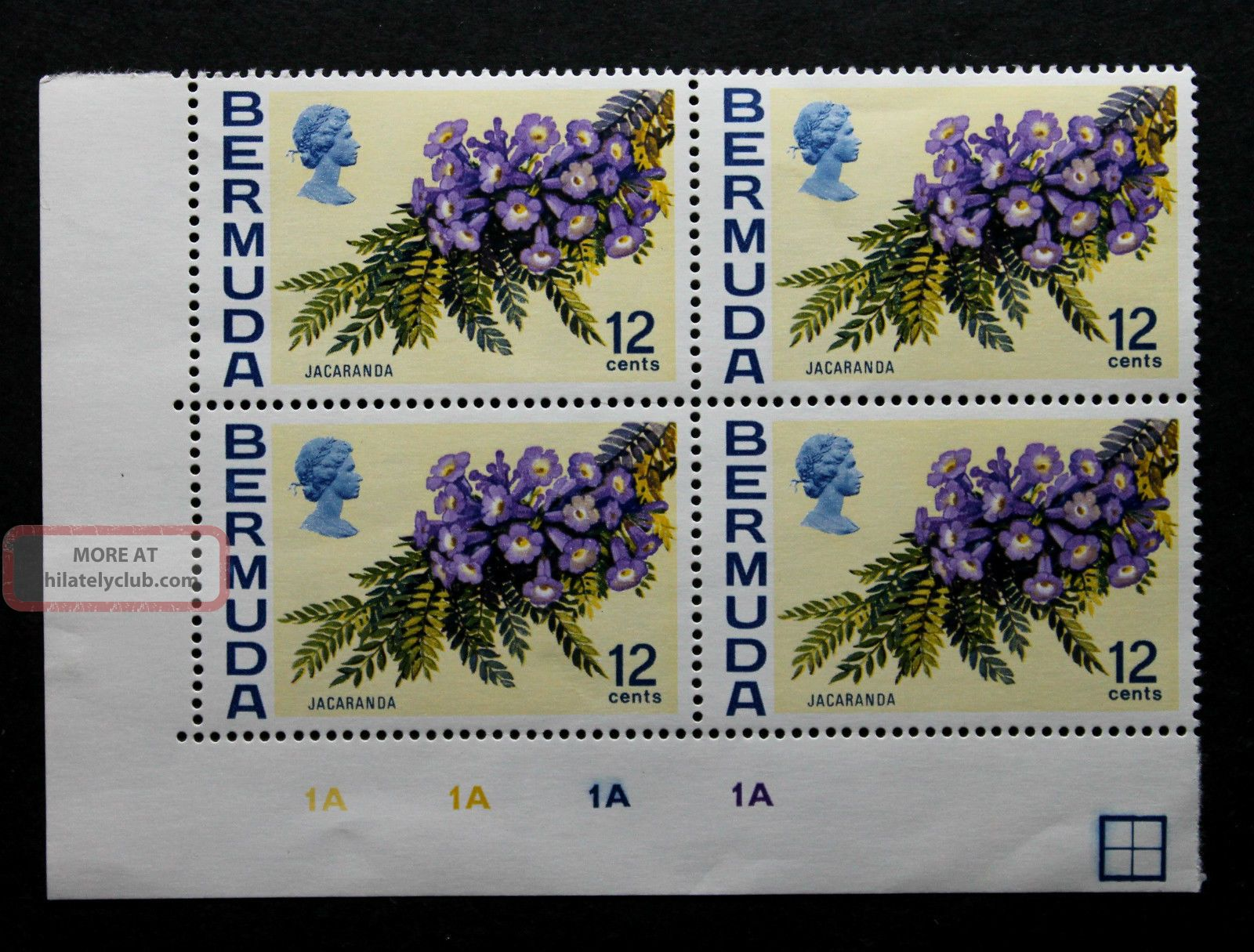 Stamp Bermuda Sc 263a Wm Up Control Block 1a Block Of 4 British Colonies & Territories photo