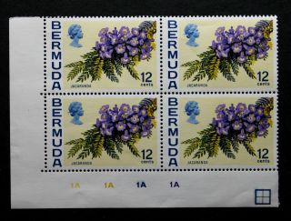 Stamp Bermuda Sc 263a Wm Up Control Block 1a Block Of 4 photo