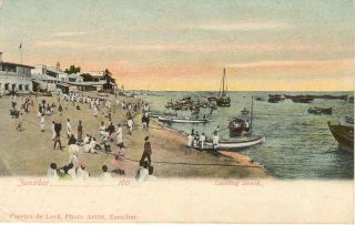 "Zanzibar 1904 Colour Ppc ""landing Beach"" Scene To Scotland photo"