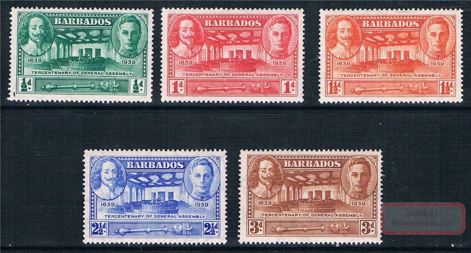Barbados 1939 Ter.  Of General Assembly Sg 257/61 Mlh British Colonies & Territories photo