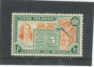 Cook Islands 1949 1d Chestnut & Green Sg151 Mm photo
