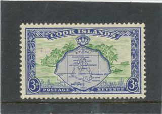 Cook Islands 1949 3d Green & Ultramarine Sg153 Mm photo