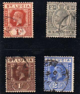 St Lucia 1912 Edward Vii - 1d - 21/2d - 1s 1913 - 2d photo