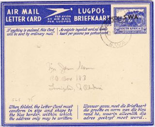 South West Africa: S.  W.  A.  Overprint On South Africa Airletter - 1946 - - Hg 17 photo