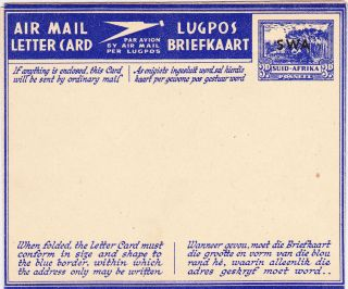 South West Africa: S.  W.  A.  Overprint On Suid - Afrika Airletter - 1946 - - Hg 18 photo