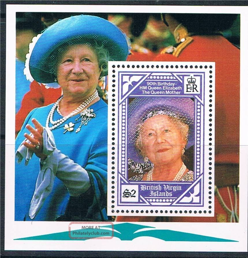 B.  V.  I.  1990 Queen Mother 90th Birthday Ms750 British Colonies & Territories photo