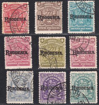 1909 - 12 Rhodesia Overprint (sg 101 - 106,  108 - 109 & 112) Fine Cv: £66 photo