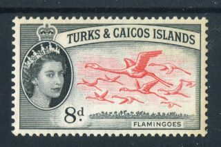 Turks & Caicos Islands 1957 Qeii.  8d Black & Vermilion. .  Og. photo