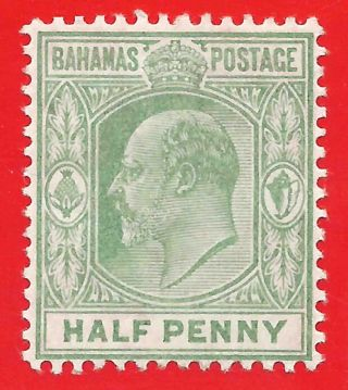 1/2d Pale Green Stamp 1906 - 11 Bahamas King Edward Vii Sg71 photo