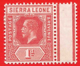 1d Carmine - Red Stamp 1912 - 16 Sierra Leone King George V photo