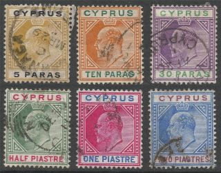 Cyprus.  1904 - 10 Kevii.  6 Values To 2pi.  Mult Crown Ca W/m B3017 photo