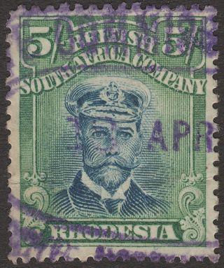 Rhodesia 1913 - 22 Kgv Admiral 5sh Die Iiia P14 Fiscally photo