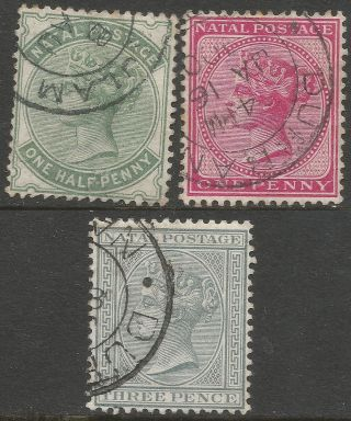 Natal.  1882 - 89 Queen Victoria.  ½d,  1d,  3d.  Crown Ca W/m.  B3422 photo