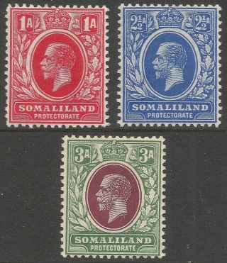 Somaliland Protectorate.  1912 - 19 Kgv.  3 Mh Values To 3a.  Mult Crown Ca W/m B4303 photo