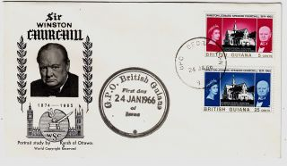 British Guiana 1966 Churchill Pair On Official Illustrated Fdc photo