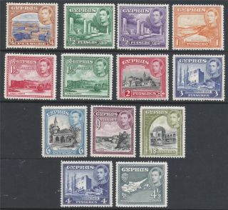 Cyprus.  1938 - 51 Kgvi.  13 Mh Values To 18pi.  B3022 photo