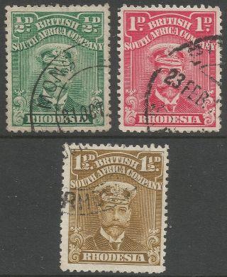 Rhodesia.  1913 - 22 Kgv.  Single Plates.  ½d,  1d,  1½d.  B4116 photo