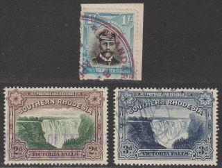 Southern Rhodesia 1924 - 41 Kgv 1sh,  Victoria Falls 2d,  3d Fiscally photo