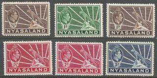 Nyasaland.  1938 - 44 Kgvi.  6 Mh Values To 3d.  B4106 photo