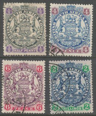 Rhodesia.  1896 - 1897 Arms.  Die Ii.  ½d,  4d,  6d,  2/ -.  B4110 photo