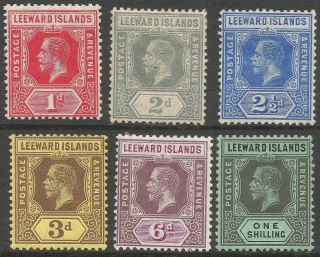 Leeward Islands.  1912 - 22 Kgv.  6 Mh Values To 1/ -.  Mult Crown Ca W/m.  B3417 photo