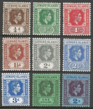 Leeward Islands.  1938 - 51 Kgvi.  9 Mh Values To 2/ -.  B3415 photo
