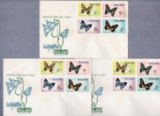 Malawi Issue: 1966 Butterflies Issue X 3 Fdcs - Not Cancelled photo