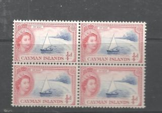 Qe11 Cayman Islands Farthing Cat Boat Block Of 4 M.  N.  H. photo