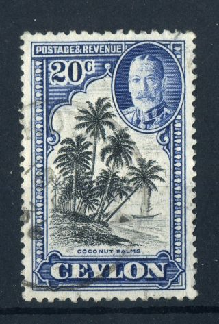 Ceylon 1936 Kgv.  20c Black & Grey Blue. . photo
