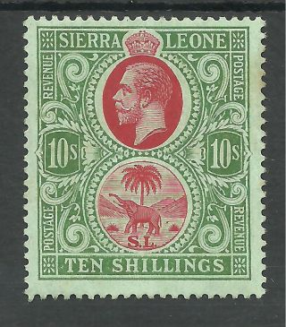 Sierra Leone Sg127 The 1912 - 21 Gv 10/ - Red&green/green Fresh Cat £100 photo