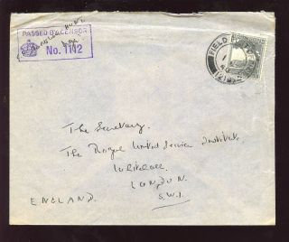 Palestine 1940 Solo 10p To Uk. .  Field Post Office+censor photo