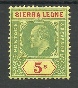 Sierra Leone Sg110 The 1908 Evii 5/ - Green And Red/yellow Fresh C.  £45 photo
