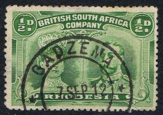 Rhodesia Double Heads ½d Green Sg120 Gadzema Dc Post Mark photo