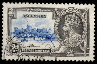 Ascension Sg32 1935 Silver Jubilee 2d Ultramarine & Grey photo