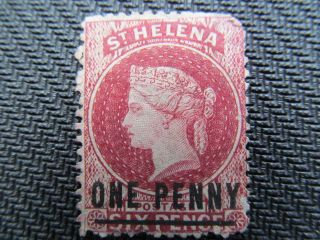 1864 One Penny Overprint On Six Pence St Helena Stamp, ,  Cv $70.  00 photo