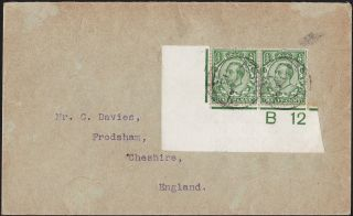 Gb Abroad In Ascension Downey Head 1/2d.  Green Pair.  Rare Cover photo