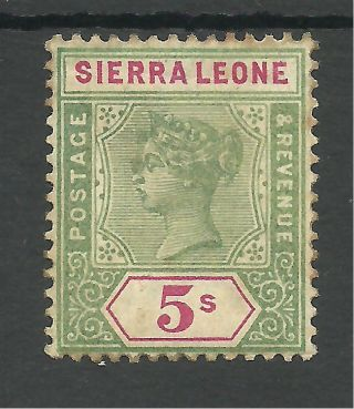 Sierra Leone Sg52 The 1896 - 7 Qv 5/ - Green And Carmine Mounted C.  £90 photo