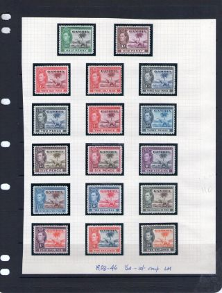 Gambia 1938 - 46 Half ' P - 10/ - Comp,  Stc £110+ Fresh Lm photo