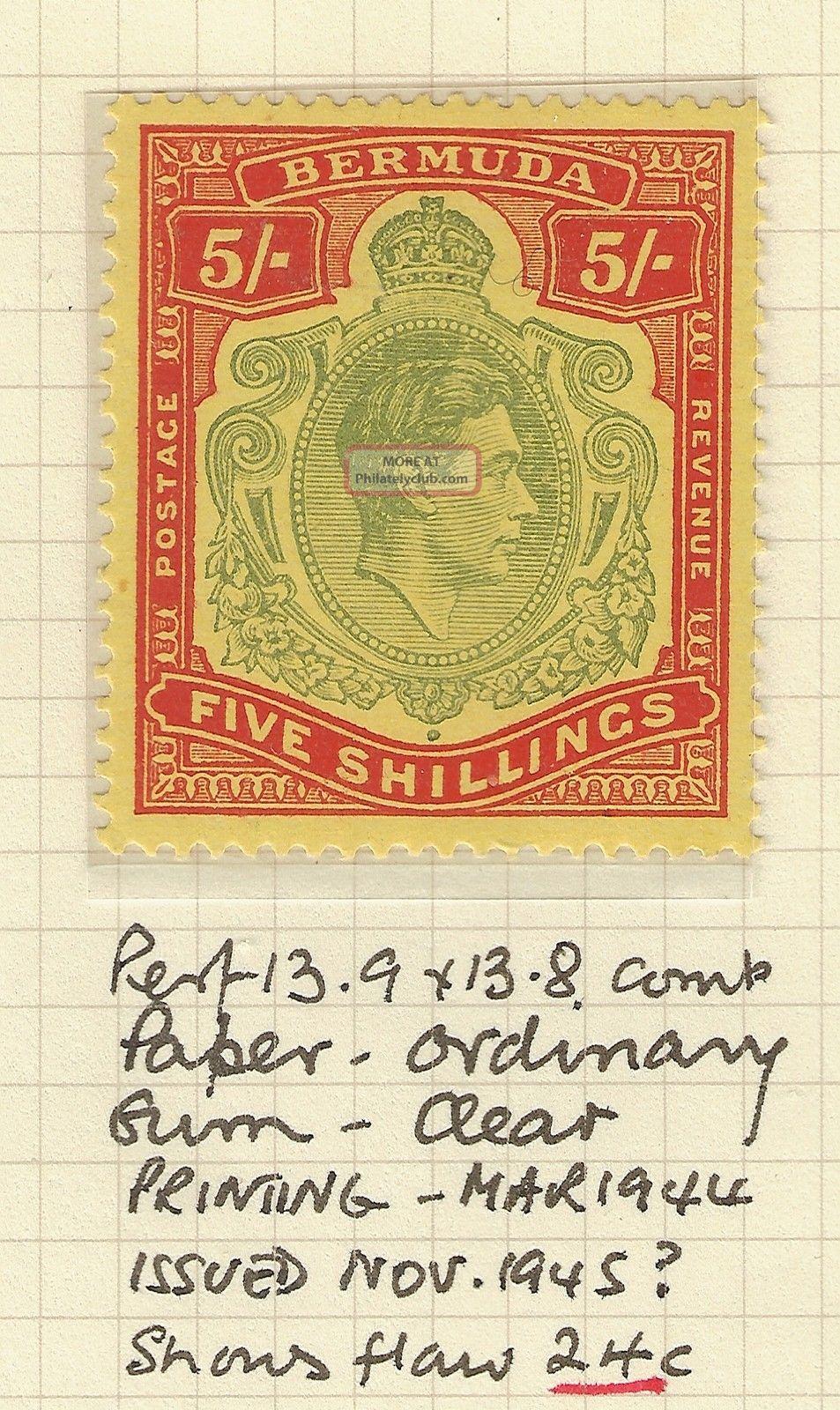 Bermuda Gvi 5s (5/ -) Stamp Hinged With Flaw 24c `break In The Crown ' British Colonies & Territories photo