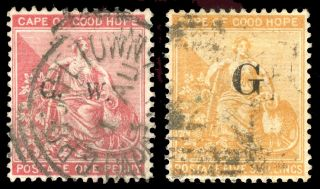 Cape Of Good Hope - Griqualand West 1877 1d And 5s Cat £170.  Sg 2,  10c.  Sc photo